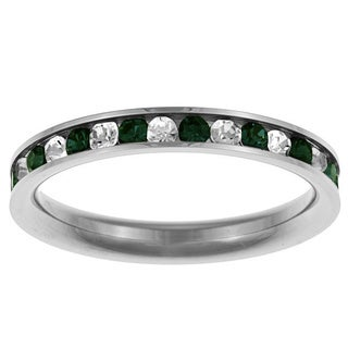 Stainless Steel Green and White Cubic Zirconia Eternity Ring