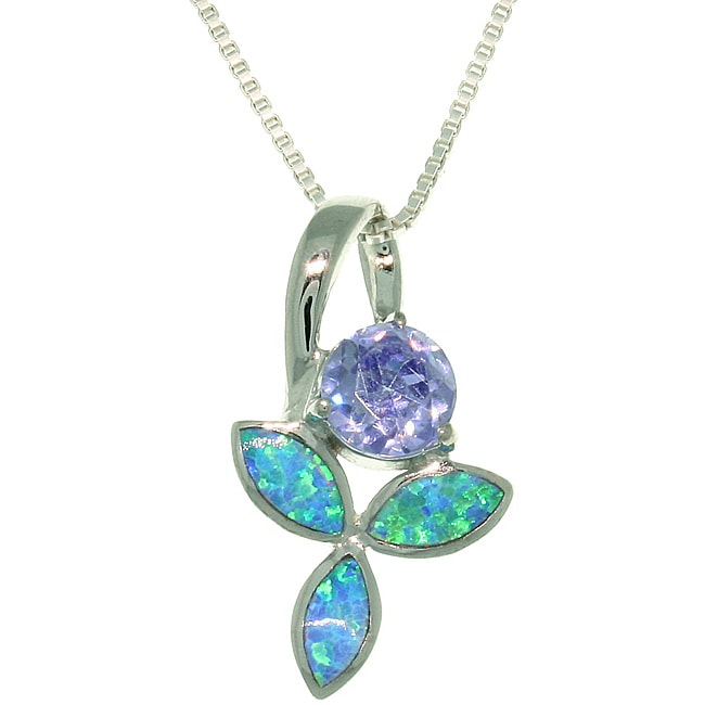 Carolina Glamour Collection Sterling Silver Wild Iris Created Opal and Cubic Zirconia Necklace