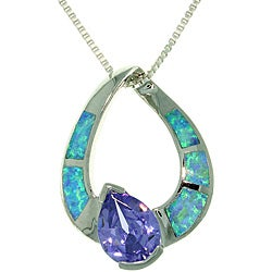 CGC Sterling Silver Pear Shape Created Opal and Cubic Zirconia Necklace