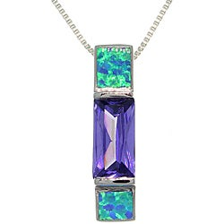CGC Sterling Silver Brilliant Created Opal and Cubic Zirconia Necklace