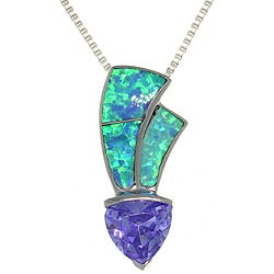 CGC Sterling-Silver Created Opal and Cubic Zirconia Necklace with Purple Pendant