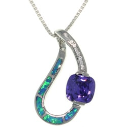 CGC Sterling Silver Created Opal and Cubic Zirconia Necklace