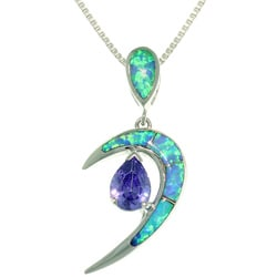 CGC Sterling Silver Vivid Crescent Created Opal and Cubic Zirconia Necklace
