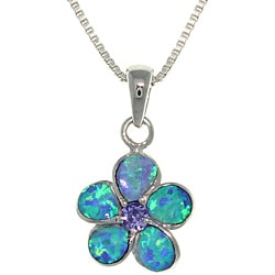 CGC Sterling Silver Wild Flower Created Opal and Cubic Zirconia Necklace