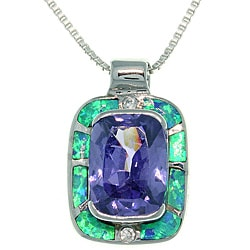 CGC Sterling Silver Geometric Plaza Created Opal and Cubic Zirconia Necklace