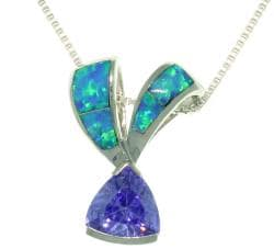 CGC Sterling Silver Created Opal and Purple CZ Ribbon Necklace