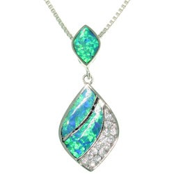 CGC Sterling Silver Ornate Dangle Created Opal and Cubic Zirconia Necklace