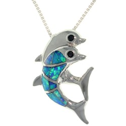 CGC Sterling Silver Playful Dolphins Created Opal and CZ Necklace