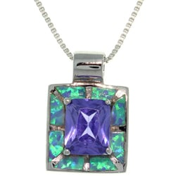 CGC Sterling Silver Created Opal and Cubic Zirconia Square Royal Purple Necklace