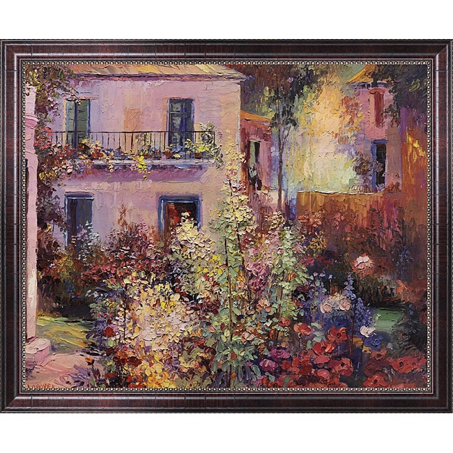 La Foret 'Balcony with Flowers' Framed Canvas Art