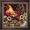 Suzanne Etienne 'Rooster Harvest' Framed Canvas Art