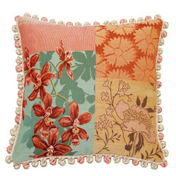Corona Decor French Woven Patchwork Feather and Down Filled Jacquard Decorative Pillow