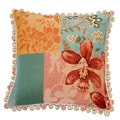 Corona Decor French Woven Orchid Flower Jacquard Decorative Pillow