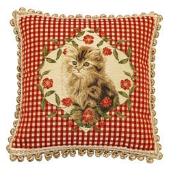 Corona Decor French Woven Kitten Feather and Down Filled Jacquard Decorative Pillow