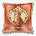 Corona Decor French Woven Jaquard Kitten Decorative Pillow