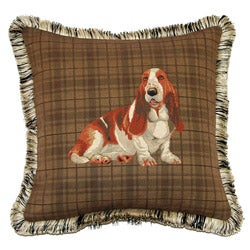 Coronoa Decor French Woven Feather and Down Filled Jaquard Basset Hound Pillow