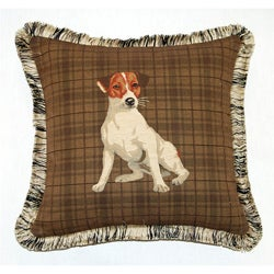 Corona Decor French Woven Fox Terrier Jacquard Decorative Down Pillow