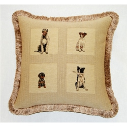 Corona Decor French Woven Dogs Jacquard Decorative Pillow