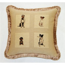 Corona Decor French Woven Feather and Down Filled Dogs Jacquard Decorative Pillow