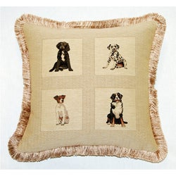 Corona Decor Dogs French Woven Jacquard Decorative Pillow