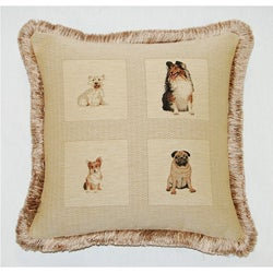 Corona Decor French Woven Best Friends Jacquard Decorative Pillow