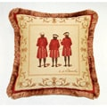 Corona Decor French Woven Jaquard Red Coats Decorative Pillow