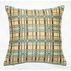 Corona Decor Italian Woven Fabric Feather and Down Filled Plaid Decorative Pillow