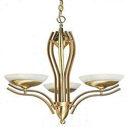 Halogen Satin Brass 3-light Chandelier