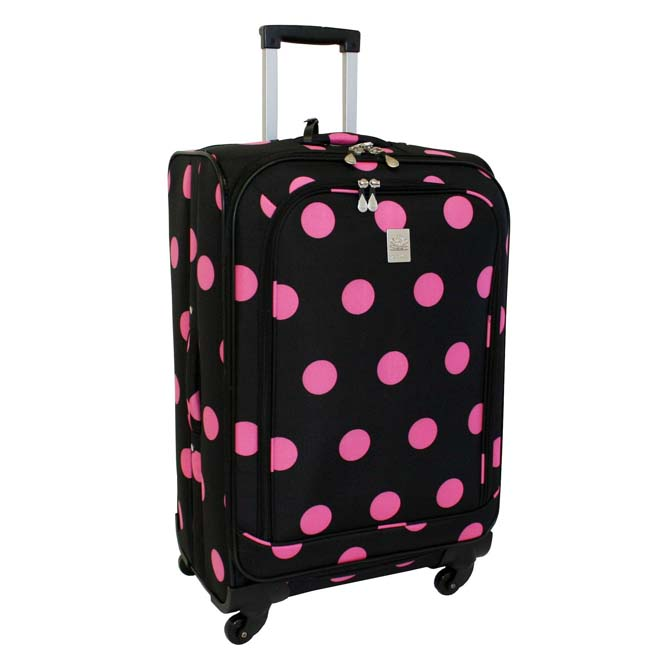 Jenni Chan Dots Black and Pink 360 Quattro 25-inch Spinner Suitcase