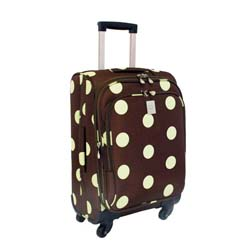 Jenni Chan Dots Green and Brown 21-inch Carry-On Spinner Upright