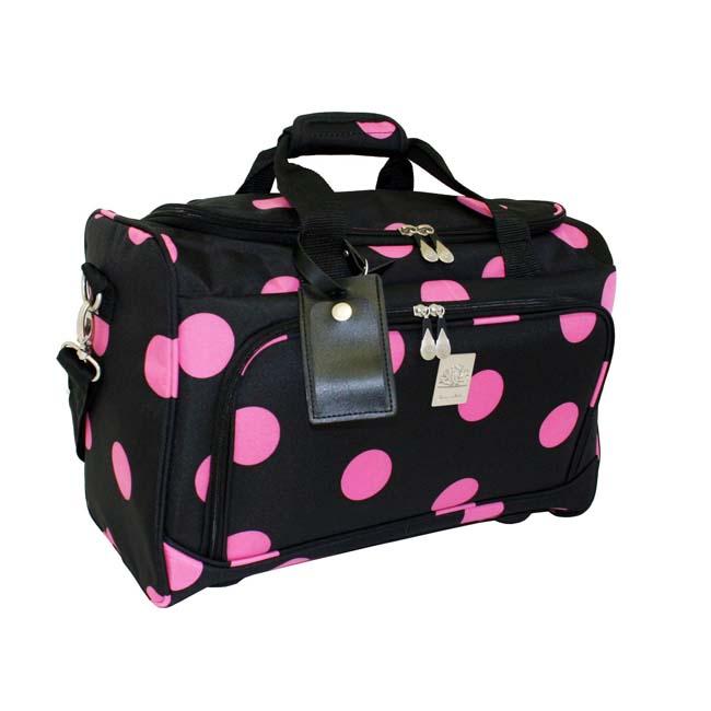 Jenni Chan Black/ Pink Dots 18 Inch City Carry On Duffel Bag