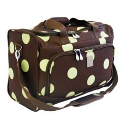 Jenni Chan 18 Inch Dots Brown/ Green City Carry On Duffel Bag