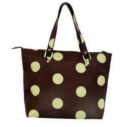 Jenni Chan Women's Green/Brown Dots Laptop Tote Bag