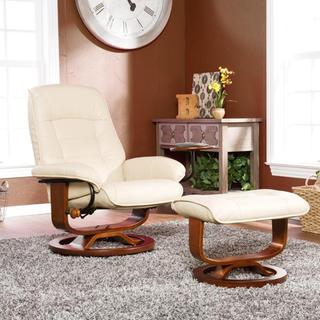 Windsor Taupe Leather Recliner and Ottoman Set