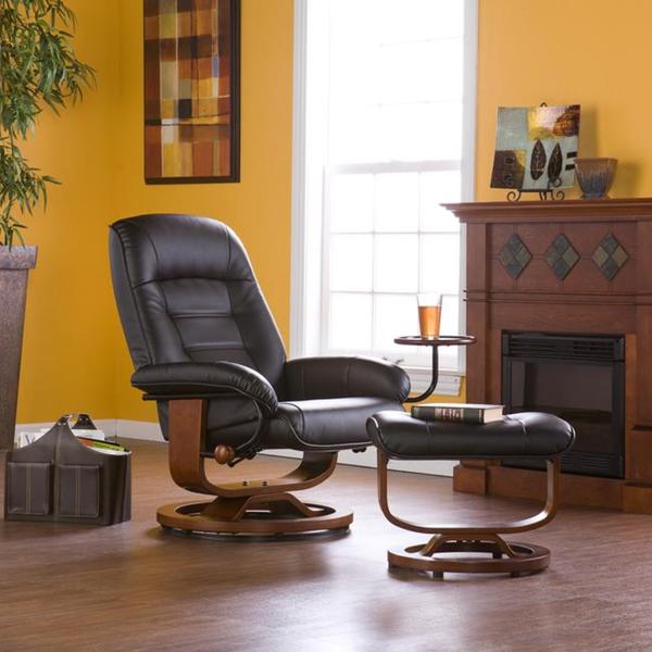 Upton Home Windsor Black Leather Recliner and Ottoman Set