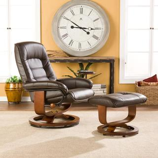 Harper Blvd Windsor Brown Leather Recliner and Ottoman Set