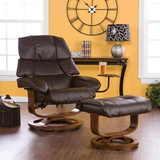 Francis Brown Leather Recliner and Ottoman Set