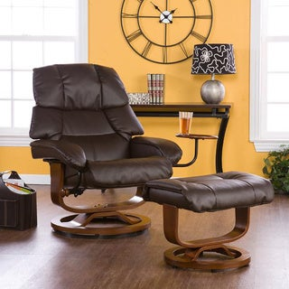 Upton Home Francis Brown Leather Recliner and Ottoman Set