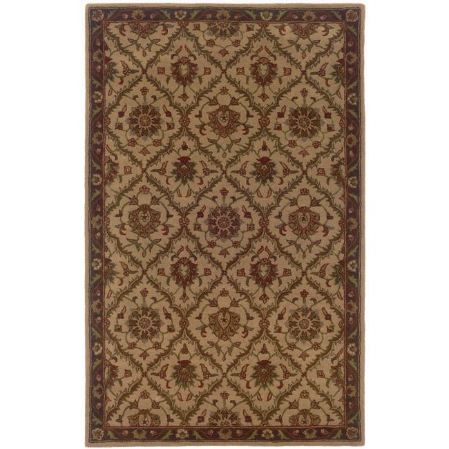 Hand-tufted Beige and Brown Wool Area Rug (8' x 10')