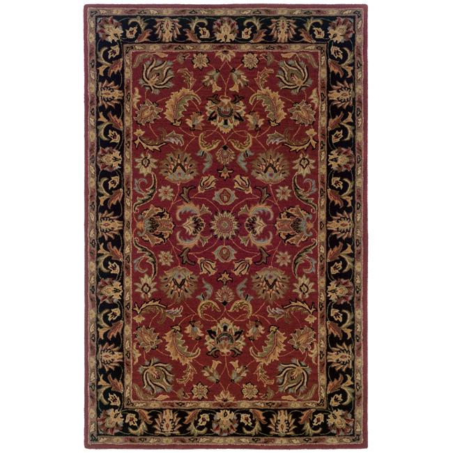 Hand-tufted Red and Black Wool Area Rug (8' x 10')