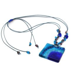 Cotton and Fused Glass Blue on Blue Square Necklace (Chile)