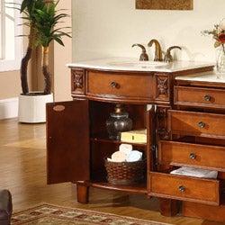 Silkroad Exclusive Wood and Crema Marble Single Bathroom Vanity