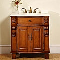 Silkroad Exclusive Wood and Marble 33-inch Bathroom Vanity Single Sink Cabinet