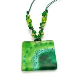 Cotton and Fused Glass Emerald Square Necklace (Chile)