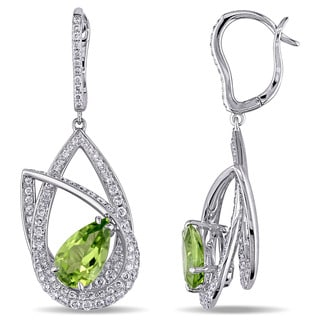 Miadora Signature Collection 14k White Gold Peridot and 1 2/5ct TDW Diamond Earrings (G-H, SI1-SI2)
