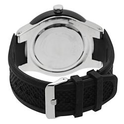 Black Geneva Platinum Men's Rhinestone-accented Silicone Watch