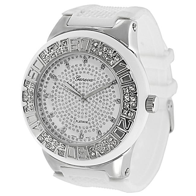 Geneva Platinum Men's Rhinestone-accented Silicone Watch
