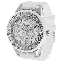 Geneva Platinum Men's Rhinestone-accented Silicone Watch