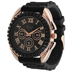 Geneva Platinum Men's Chronograph-Style Black Silicone Watch