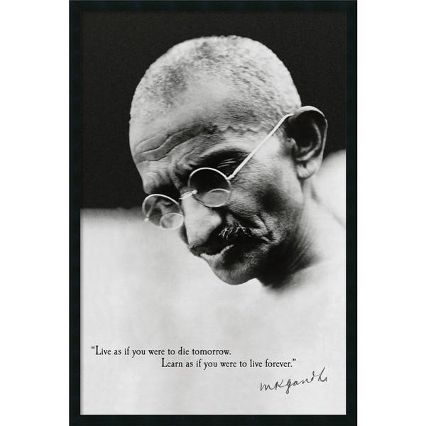 'Gandhi - Live Forever' 25 x 37-inch Framed Art Print with Gel Coated Finish